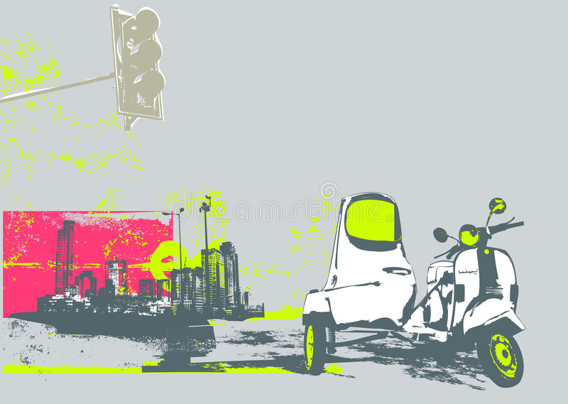 Scooter de cru illustration de vecteur