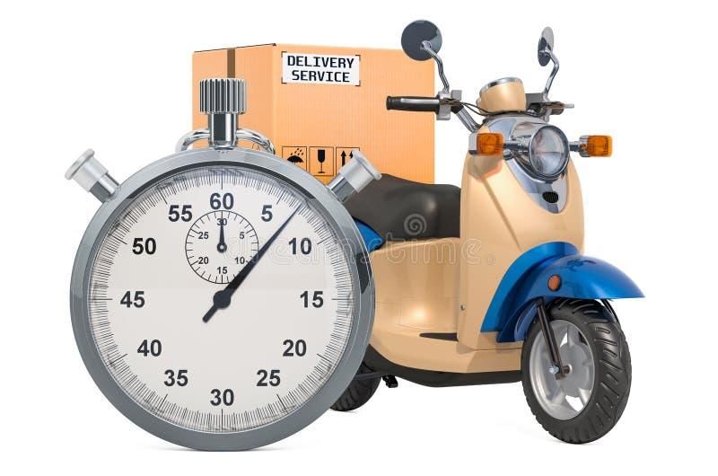 Scooter de la livraison avec le colis et le chronomètre Concept rapide de la distribution rendu 3d illustration de vecteur