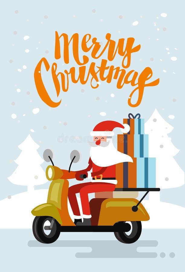Scooter de la livraison d'équitation de Noël Santa Claus illustration libre de droits