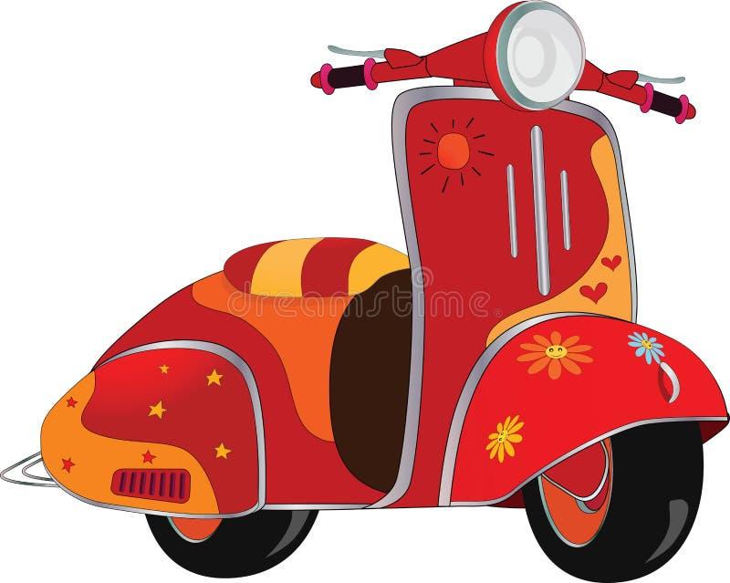 Scooter de moteur pour le hippie. Dessin animé illustration stock