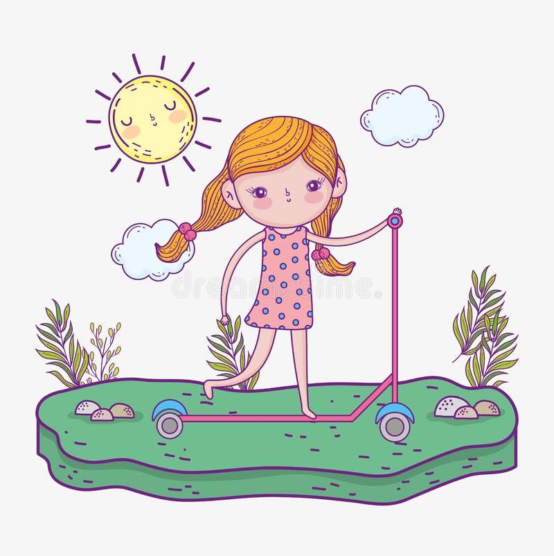Scooter de tour de fille avec le soleil et des usines illustration libre de droits