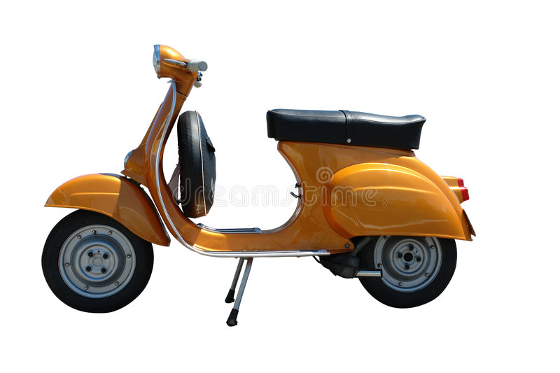 Scooter de vespa de cru (chemin compris) photo libre de droits