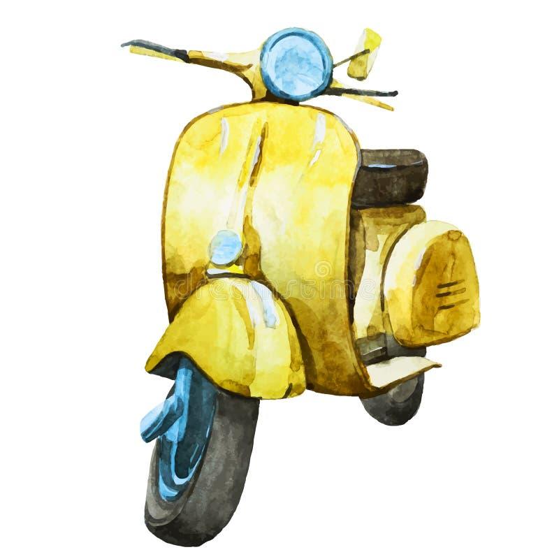 Scooter de vintage d'aquarelle illustration libre de droits