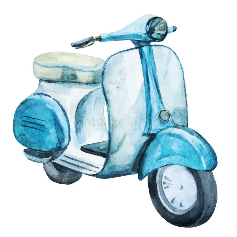 Scooter de vintage d'aquarelle illustration de vecteur