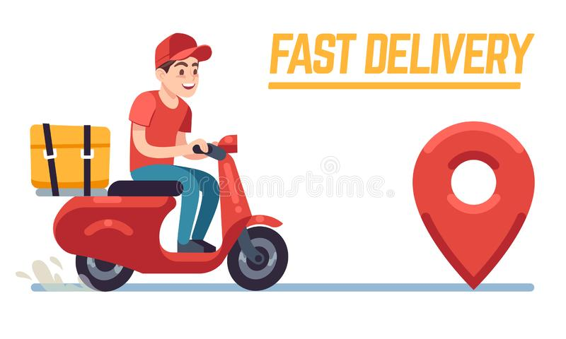 Scooter with delivery man. Fast courier with pizza, motorcycle driver on road to client. Restaurant food service flat. Vector young deliver cartoon character vector illustration