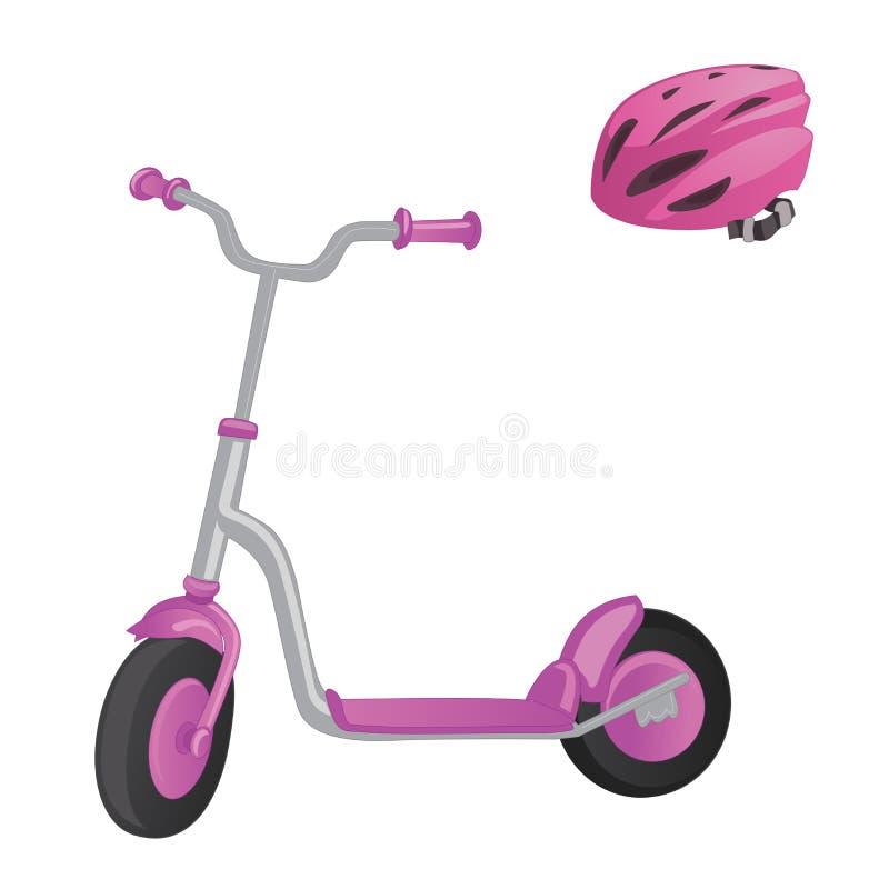 Scooter et casque roses de rouleau pour des enfants Vélo d'équilibre Transport de ville d'Eco Collection de scooter de coup-de-pi illustration libre de droits