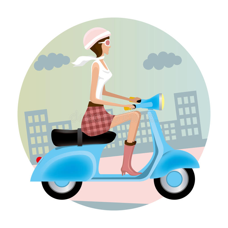 Download Scooter girl stock vector. Image of moped, fashion, motorcycle - 16103701