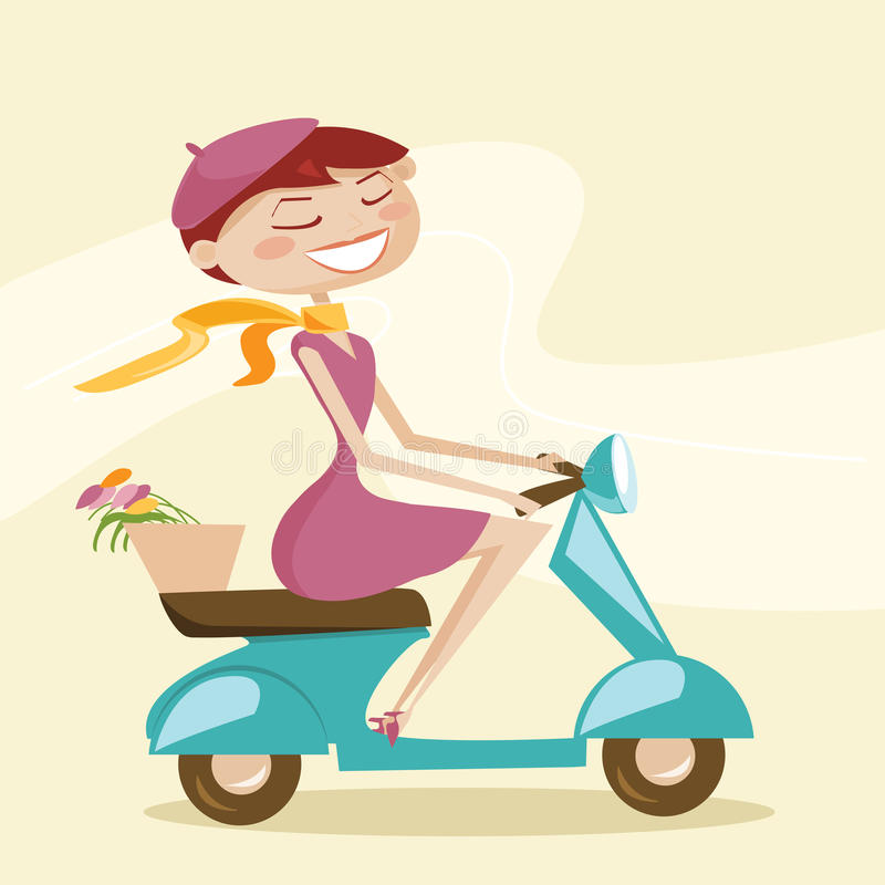 Download Scooter girl stock vector. Image of girl, retro, view - 18753133
