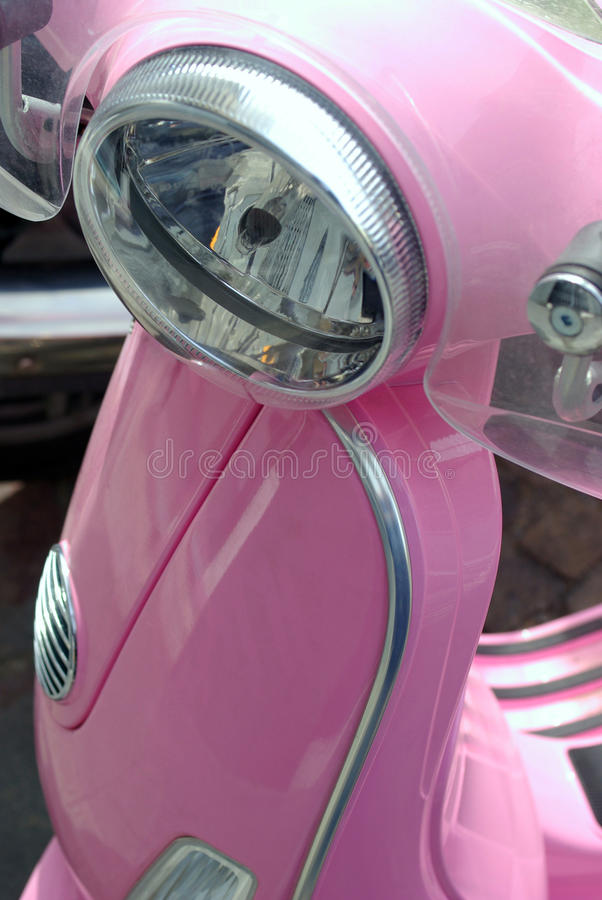 Scooter headlight. Close-up detail of a new scooter stock images