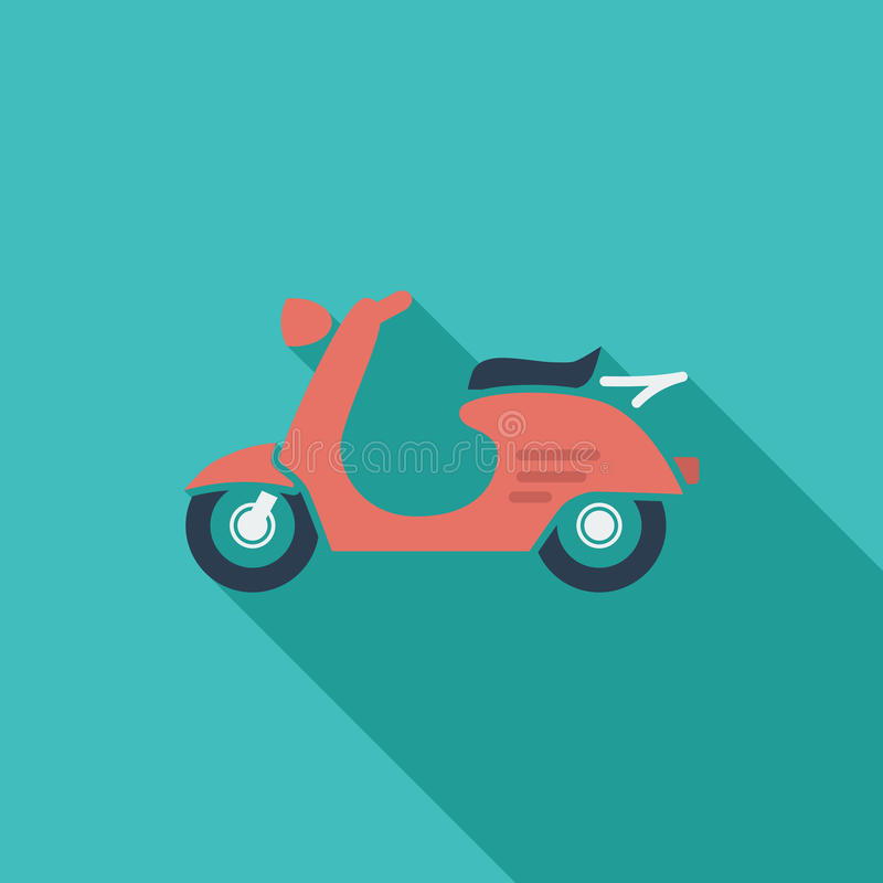 Scooter. Icon. Flat vector related icon with long shadow for web and mobile applications. It can be used as - logo, pictogram, icon, infographic element. Vector vector illustration