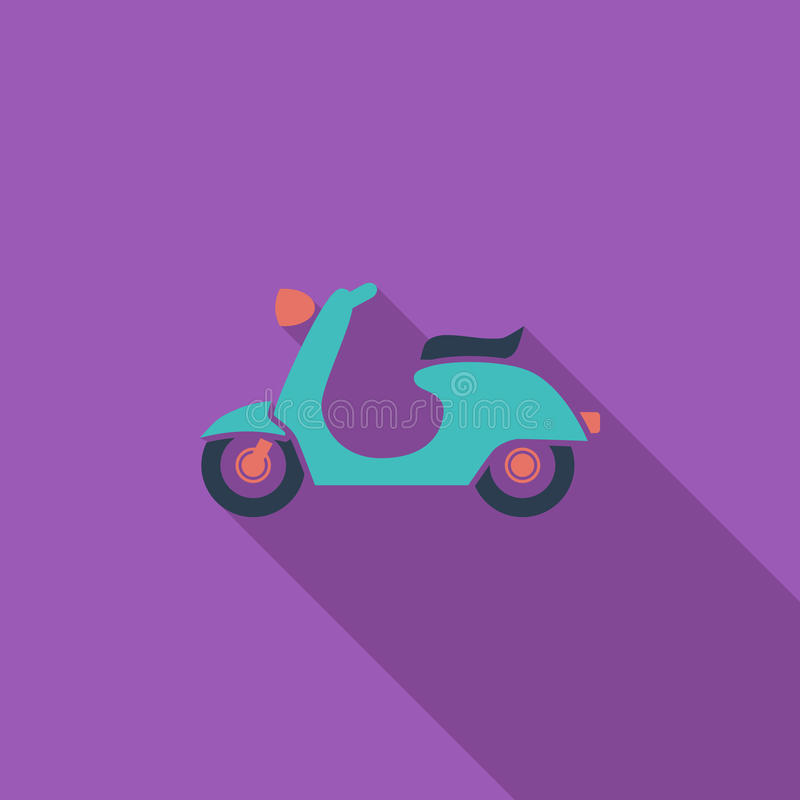 Scooter. Icon. Flat vector related icon with long shadow for web and mobile applications. It can be used as - logo, pictogram, icon, infographic element. Vector royalty free illustration