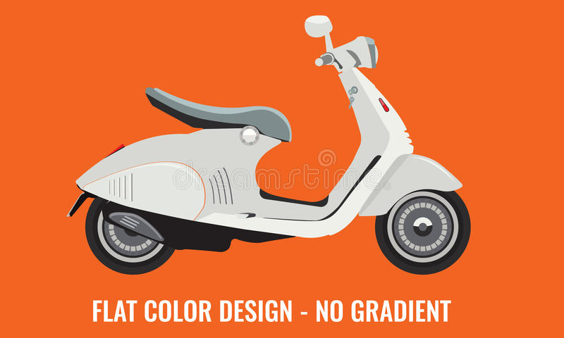 Scooter motorbike with flat color style design. stock illustration