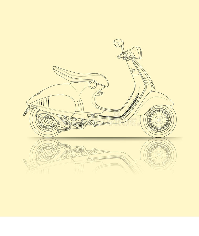 Scooter outline. Vector abstract, motorcycle scooter outline style vector illustration