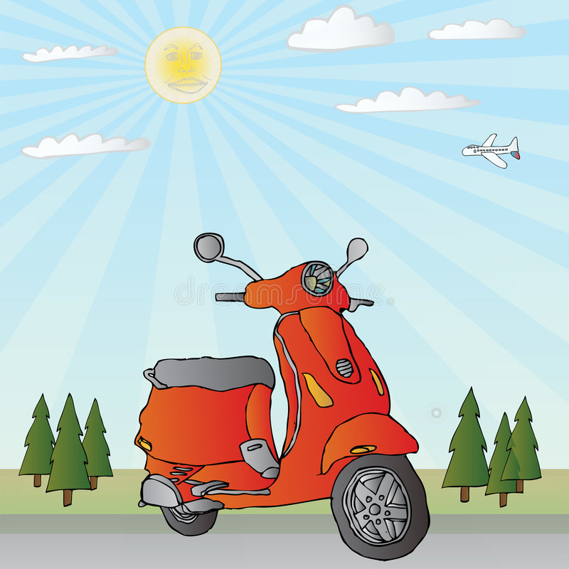 Scooter Parked Illustration. A fully scalable vector illustration of a classic scooter parked in front of some trees royalty free illustration