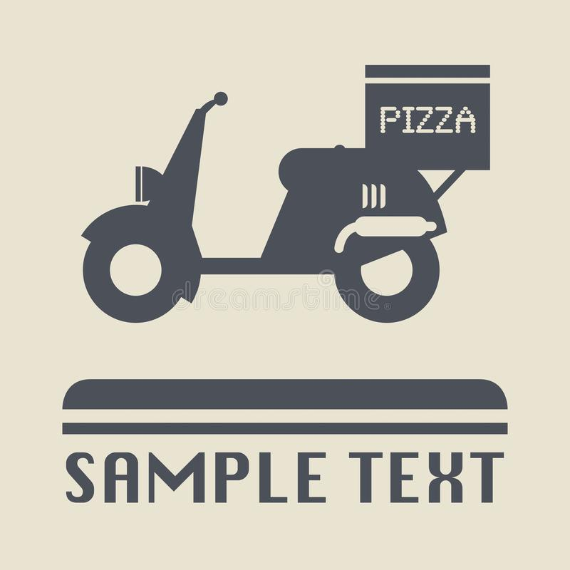 Scooter with pizza box. Icon or sign, vector illustration royalty free illustration
