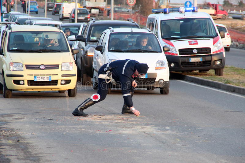 Scooter road accident, crash royalty free stock photos
