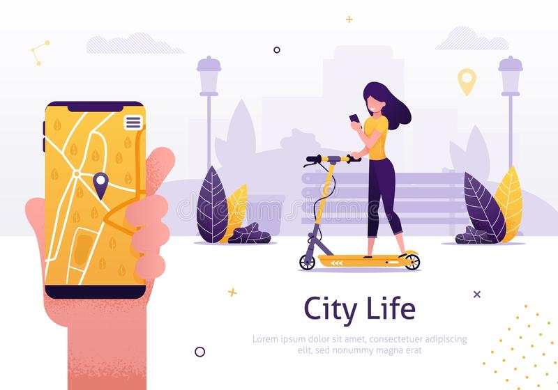 Scooter Sharing and Rent Service for Mobile App vector illustration