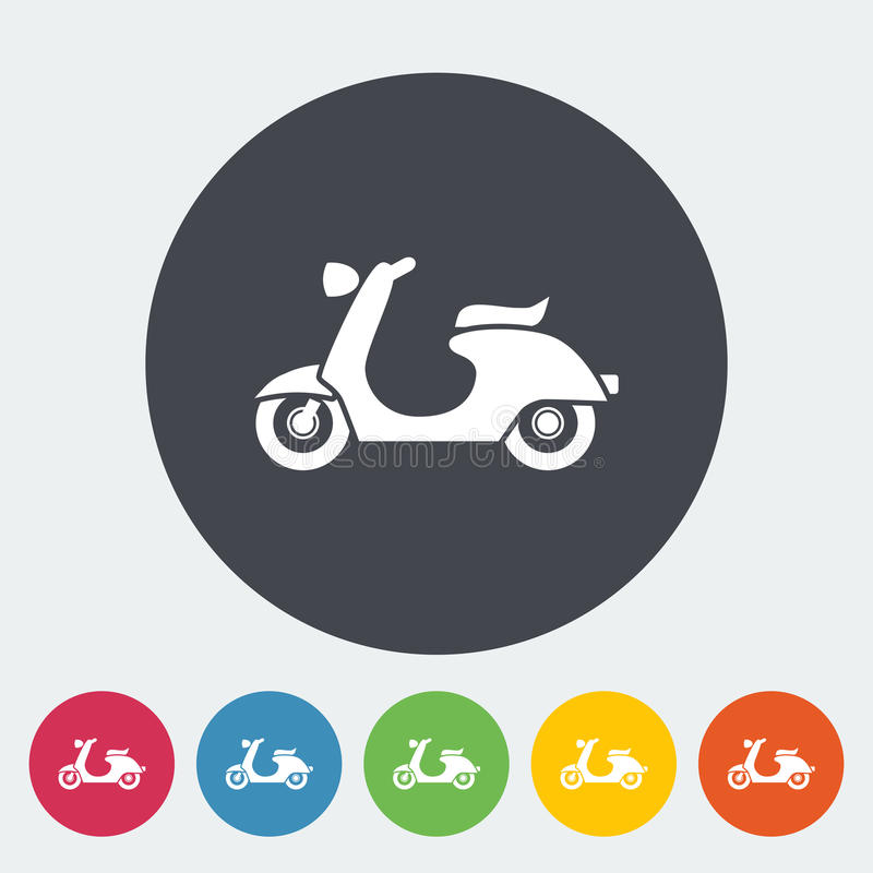 Scooter. Single flat icon on the circle. Vector illustration stock illustration