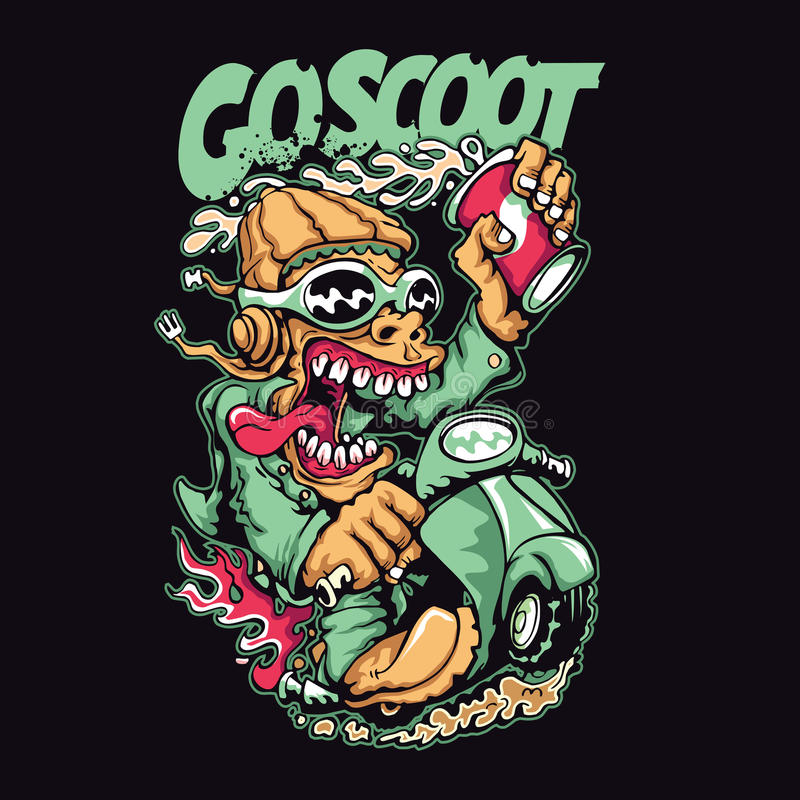 Scooter. T-shirt or poster print design