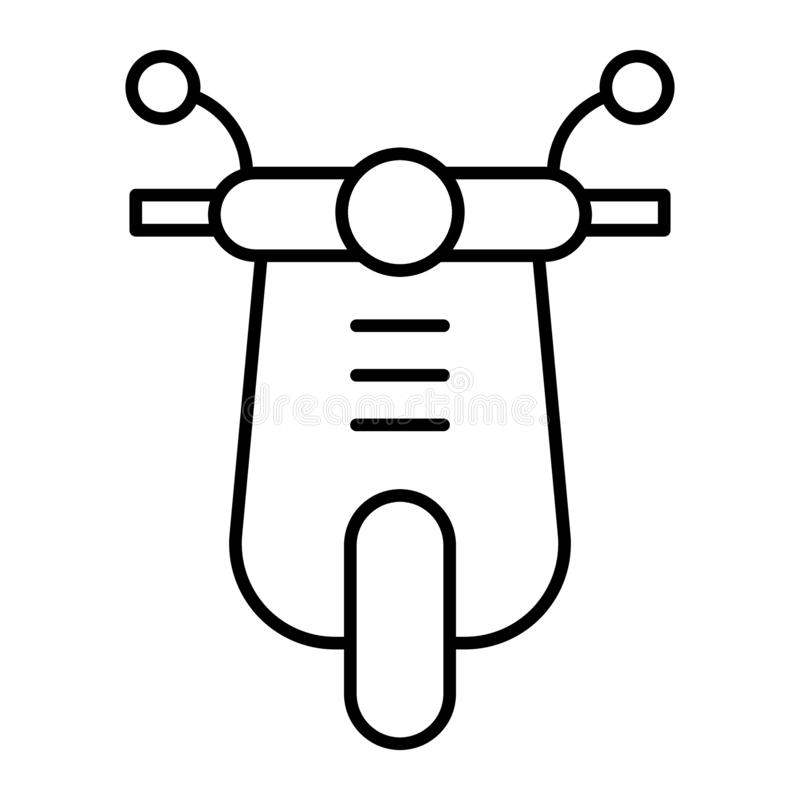 Scooter thin line icon. Moped illustration isolated on white. Motorbike outline style design, designed for web and app vector illustration