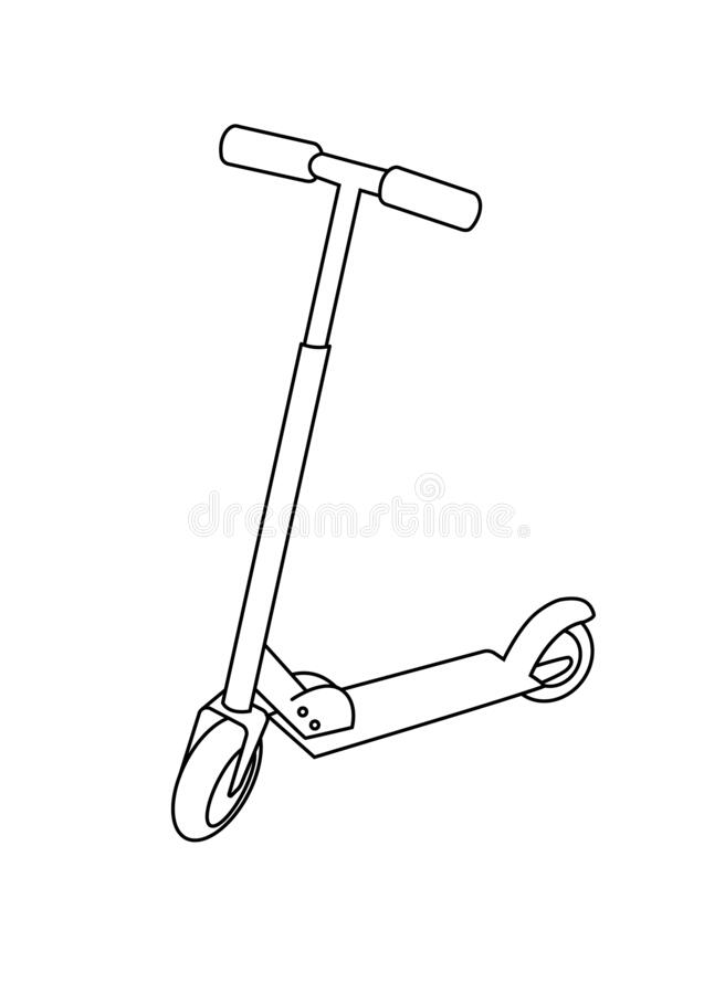 Scooter Toys Black And White Lineart Drawing Illustration ...