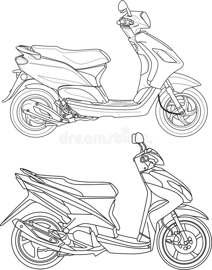Scooter. Vector illustration, motorcycle or scooter matic outline style vector illustration