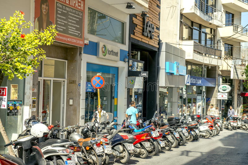 Scooters in Heraklion, Creece. Motorbikes are very popular in Crete because they are easy to park, consume little fuel, and are easy to maneuver in narrow royalty free stock images