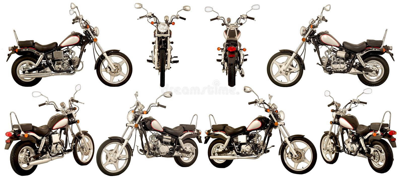 Scooters and motorcycles stock photo