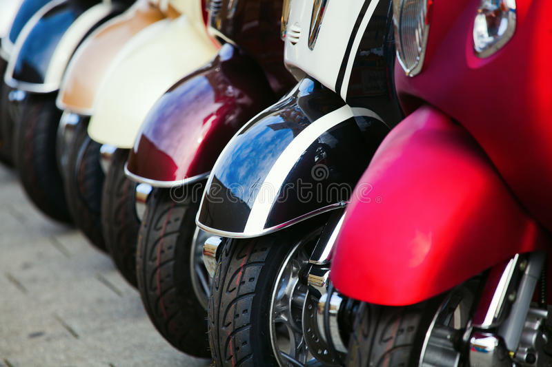Download Scooters in a row stock photo. Image of scooters, wheels - 34086102