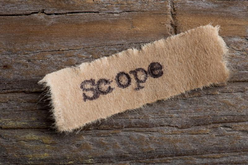 Scope word on a piece of paper close up, business creative motivation concept. Scope - word on a piece of paper close up, business creative motivation concept royalty free stock photo