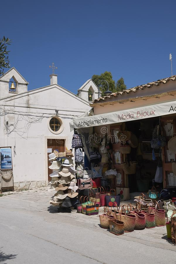 Souvenir kiosk in Scopello royalty free stock photos