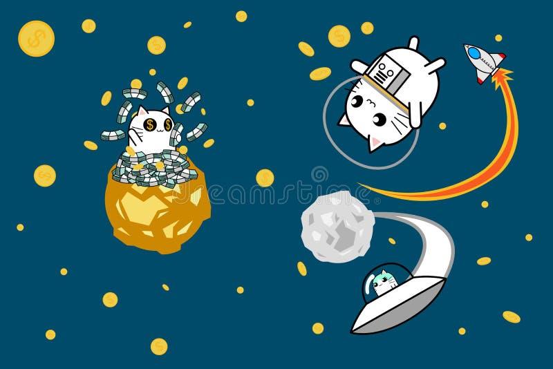 Scoperta del gatto ed esplorare soldi nella progettazione di personaggio dei cartoni animati dello spazio fotografia stock