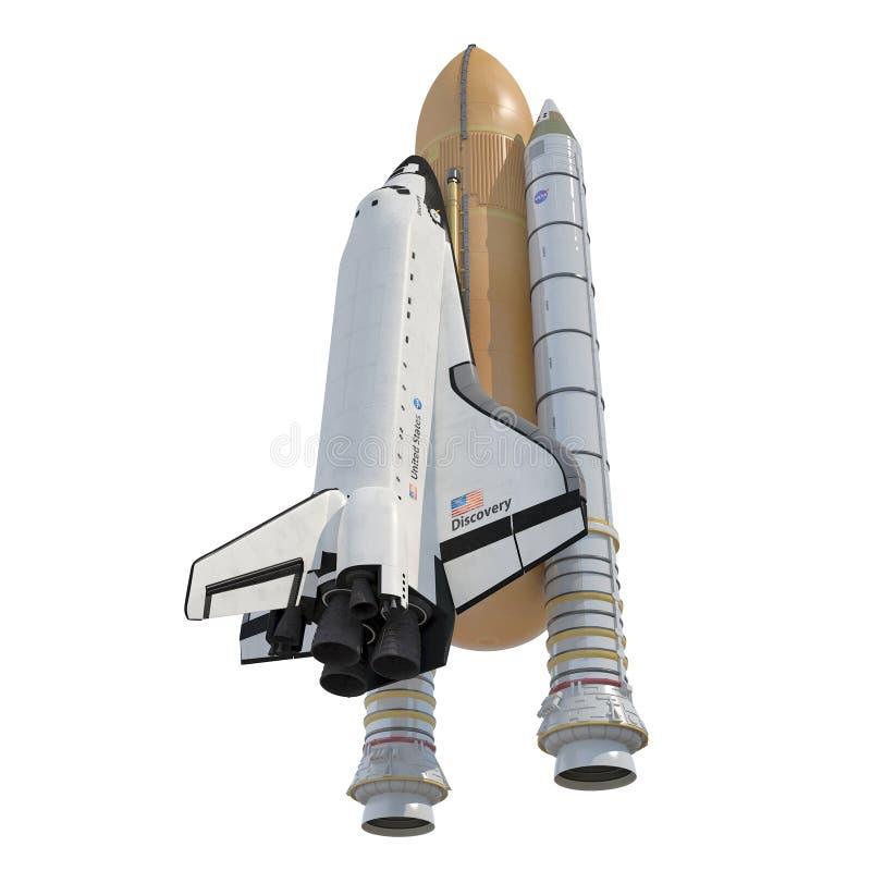 Scoperta della navetta spaziale con i ripetitori su bianco illustrazione 3D illustrazione vettoriale