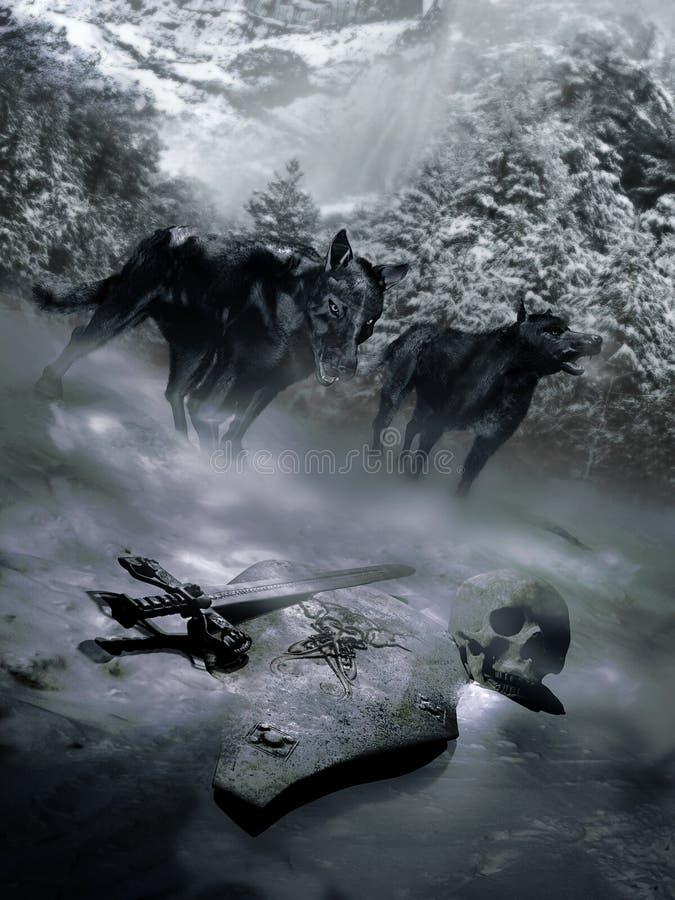 Scoperta scura dei lupi illustrazione vettoriale