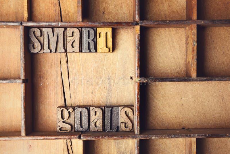 Scopo astuto in scritto tipografico composto di legno immagini stock