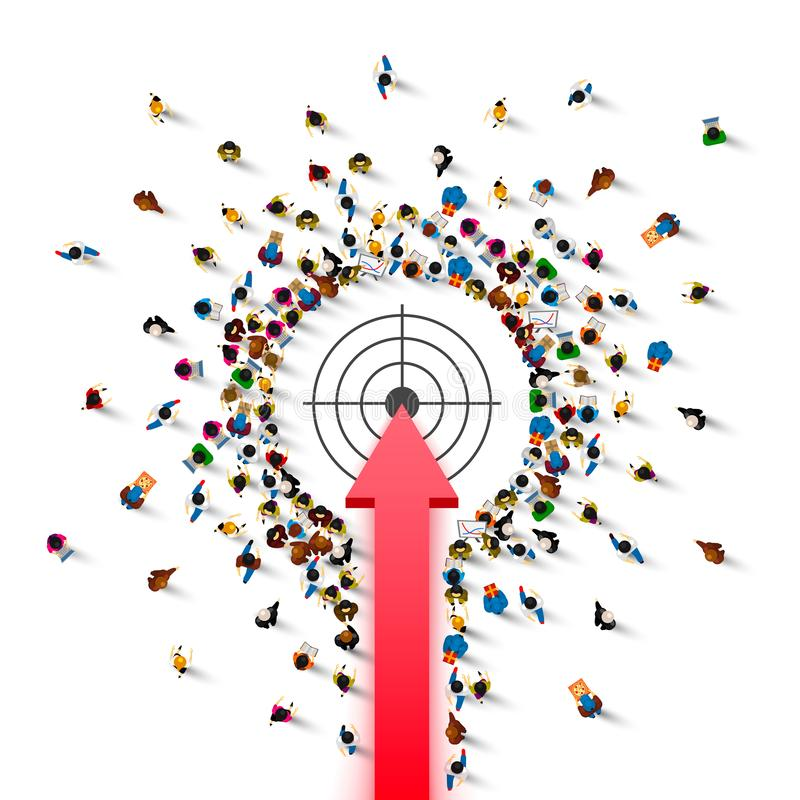 Scopo della freccia del segno del gruppo della gente illustrazione vettoriale