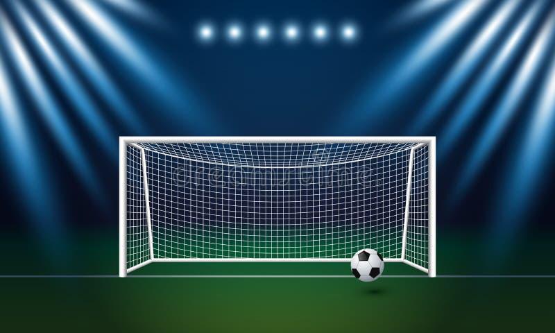 Scopo e calcio di calcio con il fondo del riflettore in stadio illustrazione vettoriale