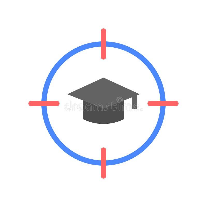 Scopo e cappuccio graduato, istruzione ed e imparanti concetto dell'icona illustrazione di stock