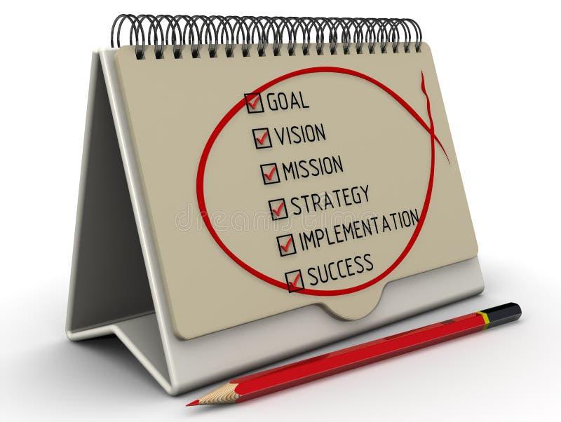 Scopo, visione, missione, strategia, implementazione, successo Lista con i segni illustrazione vettoriale