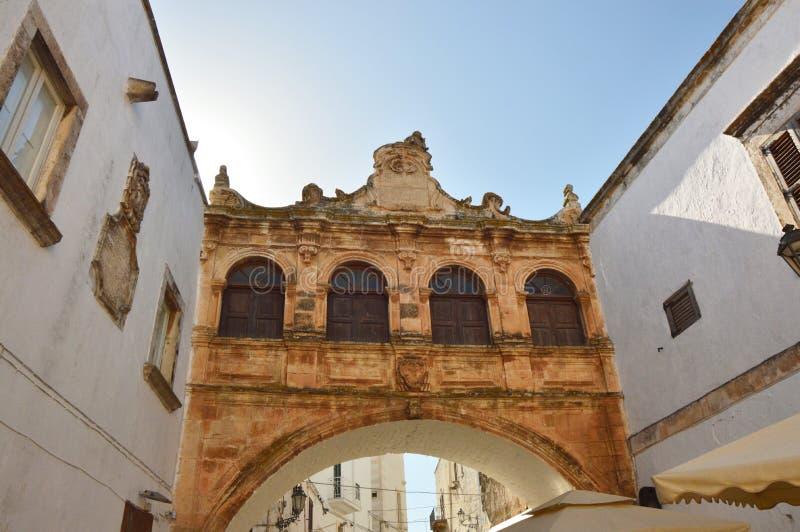 The Scoppa arch, Ostuni, Apulia, Italy. View of The Scoppa arch, Ostuni, Apulia, Italy stock photo