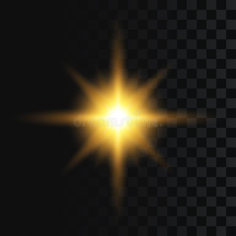 Scoppiamento di Flash o di stella, effetto di luce sullo sfondo trasparente Bagliore riassunto, luccicante d'oro con raggi d'oro  illustrazione di stock