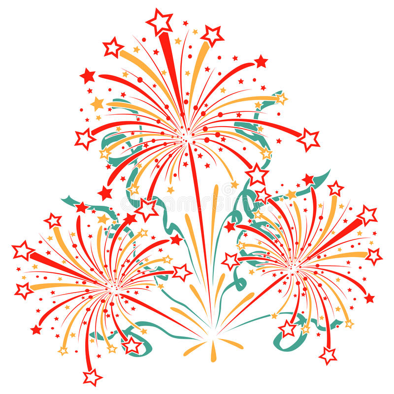 Scoppio dei fuochi d'artificio con lamé, fiamme e illustrazione vettoriale