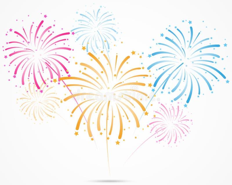 Scoppio dei fuochi d'artificio con le stelle e le scintille illustrazione vettoriale