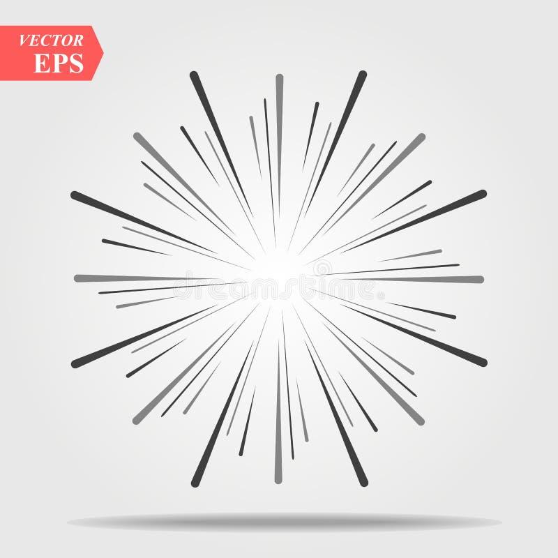 Scoppio dei raggi del sole nella linea stile dei pantaloni a vita bassa Linee del grafico di vettore di fasci del sole Disegno ge royalty illustrazione gratis