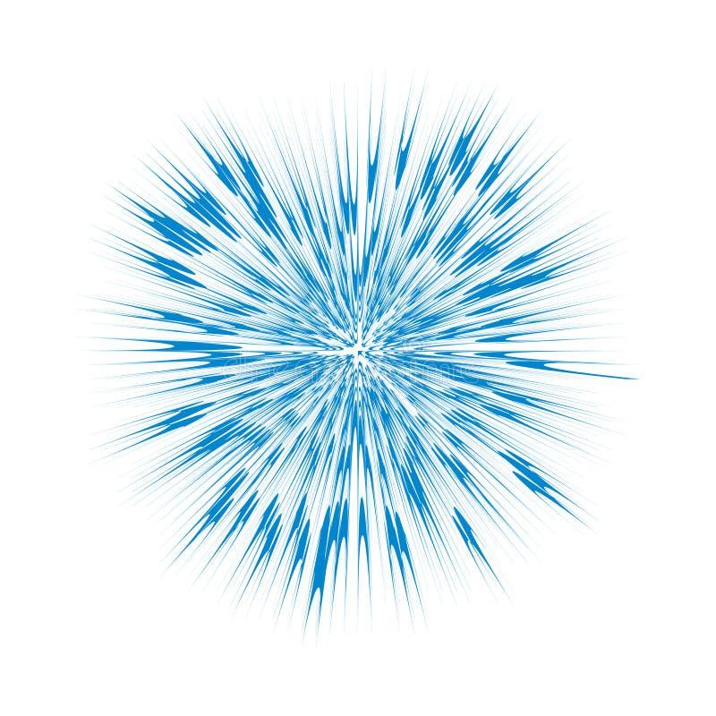 Scoppio del blu, esplosione astratta Effetto grafico di scoppio isolato su fondo bianco illustrazione di stock