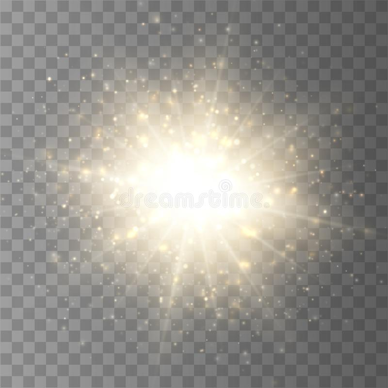 Scoppio della stella con polvere e la scintilla isolate Effetto della luce di incandescenza illustrazione di stock