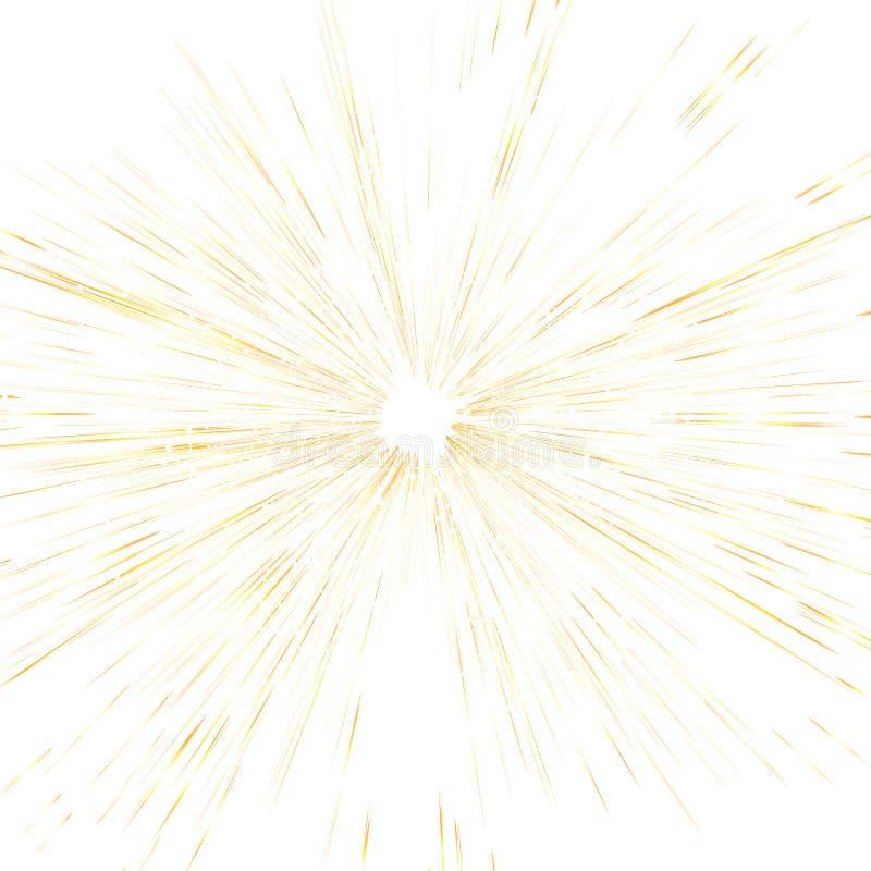 Scoppio della stella, raggi luminosi dell'oro e punteggiare struttura sparsa ab di scintillio illustrazione vettoriale