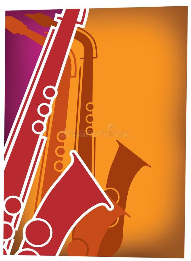 Scoppio Red_Violet del sax di jazz illustrazione di stock