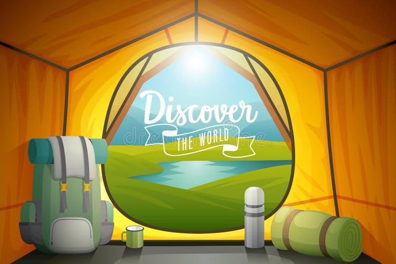 Scopra il manifesto del mondo, vista dall'interno di una tenda illustrazione vettoriale