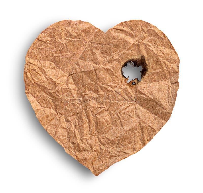 Scorched скомкал бумажное сердце стоковая фотография rf